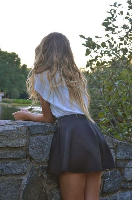 Leather skater skirt with a casual tee oh so yes yes yes - cool casual style - women's fashion