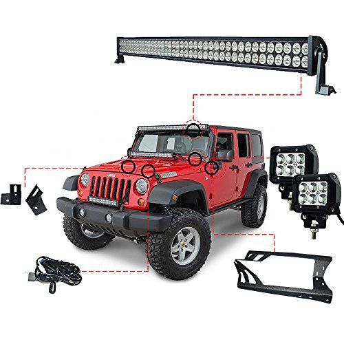 52 Inch LED Light Bar Kit and LED Work Lights Kit for Jeep JK Wrangler