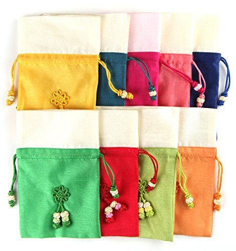 9PCS Korean Small Size Silk Lucky Bag Bokjumeoni Travel Cosmetics Makeup Bags Baby Shower Gift Wedding Favors Wholesale Lots ** ** AMAZON BEST BUY **