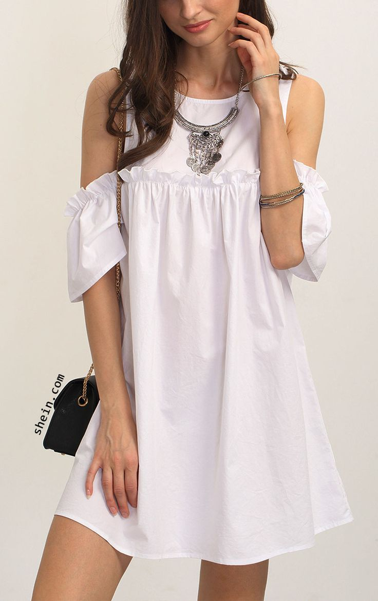 Causal & vintage-White Ruffle Cold Shoulder Shift Dress