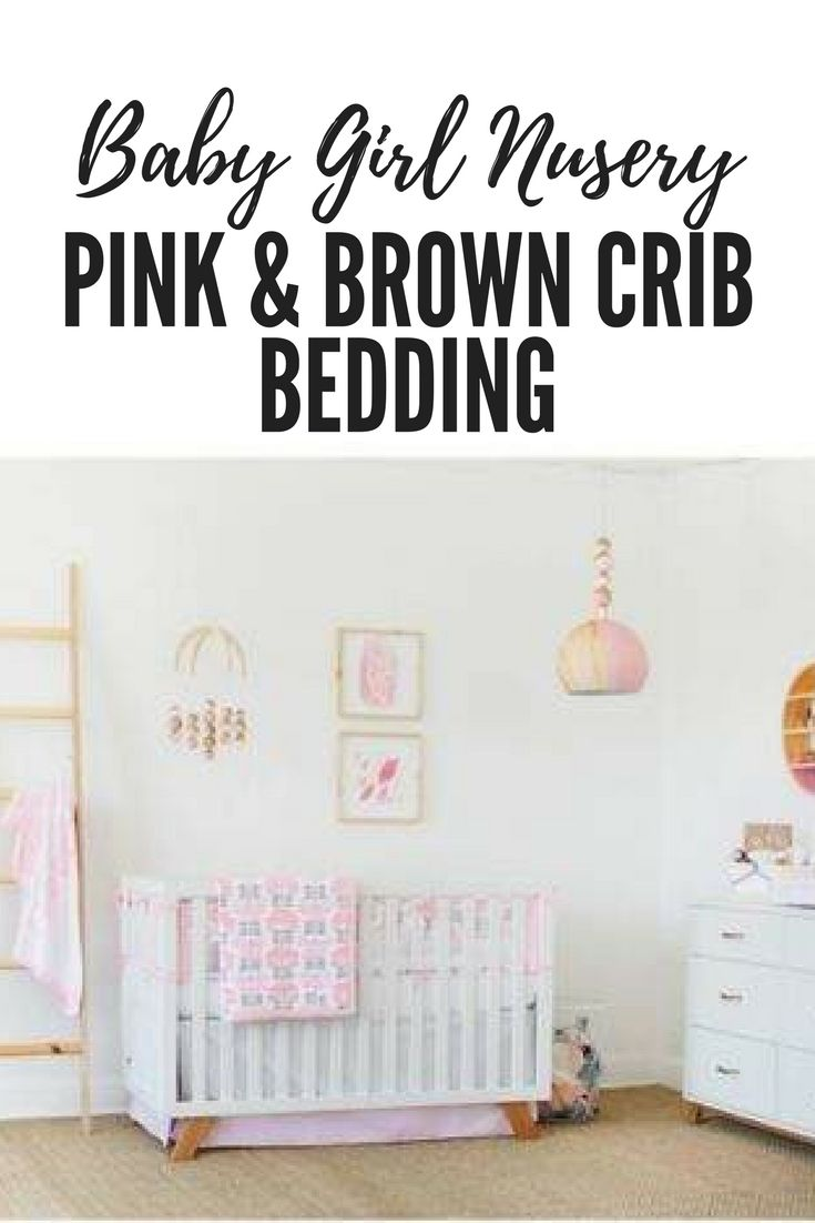 pink and brown crib bedding for a baby girl nursery #affiliate #baby #girl #crib #bedding #pink #brown #nursery #decor #ideas #shower #gift