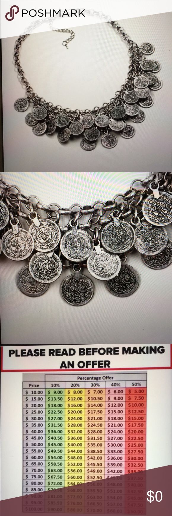 "Boho chic old vintage silver coins Coming Soon! Boho chic Coin all vintage silver pendant necklace hot fashion. Measurements are approximately 17 1/8"" with 3 1/8"" extender chain. The coins lay 2"" to lowest point. 040520174512001 Jewelry Necklaces"