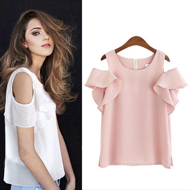 Softu European Style Summer Shirt Off the Shoulder Tops Short Butterfly Sleeve O Neck Blouse Fashion Chiffon Shirts Lady Blusas