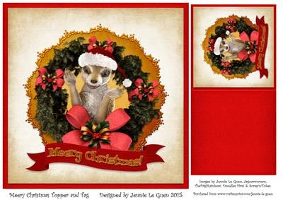 Meery Christmas Topper and Tag on Craftsuprint - Add To Basket!