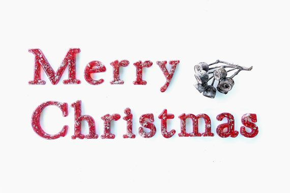Merry Christmas Wall Sign in  Red Resin with by WordosaurusText, $91.00