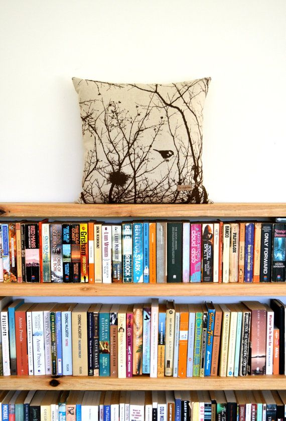 Winter Nest Cushion Cover in Chocolate Brown. by TheWiggleTree