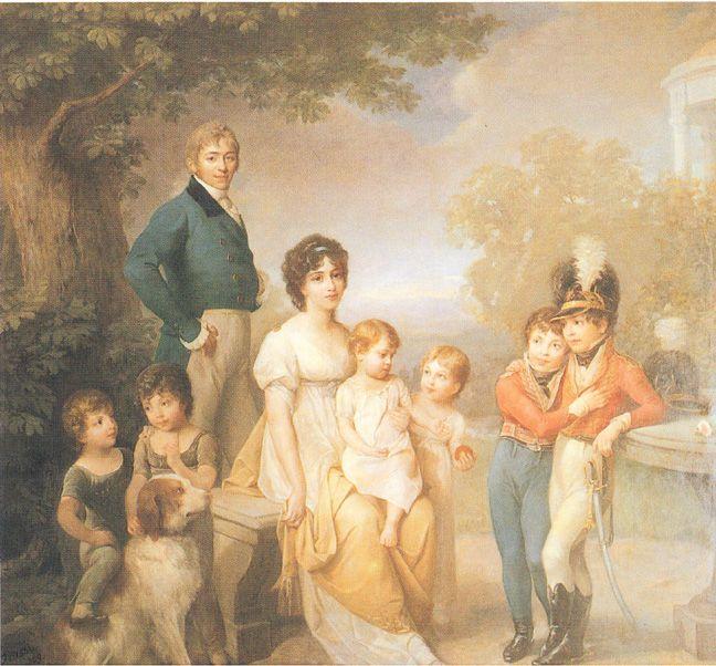 Stanislaw Kostka Zamoyski with his wife, Zofia (née Czartoryska), and their family, by Józef Grassi, 1810