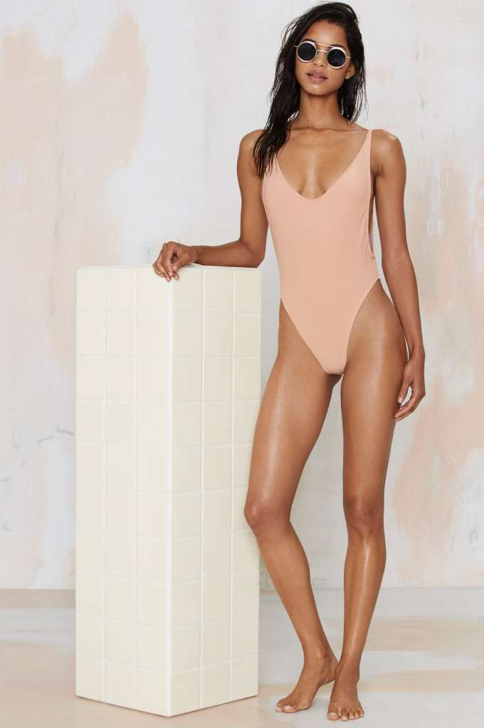 Nasty Gal Alina Swimsuit - Nude - Swim Shop | Back In Stock | Best Sellers | One Pieces | Swimwear | Swimwear | 30% Off New Styles | Clothes | Swimwear