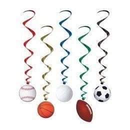 Hangdecoratie Whirls Sporten -  Een prachtige hangdecoratie met onderaan diverse ballen in verschillende sporten. Lengte: 100cm. Leuk voor een sport evenement, kinderfeest of gewoon als decoratie in een kinder of tiener slaapkamer. | www.feestartikelen.nl