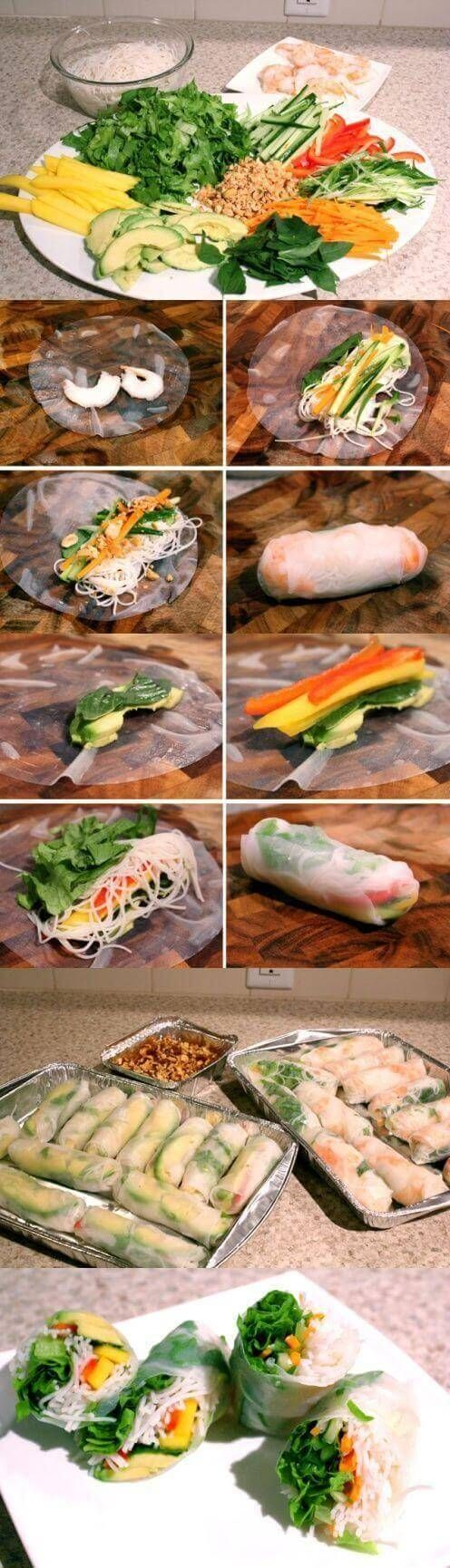 Shrimp Salad Rolls and Avocado Mango Salad Rolls - You'll be set for a spring full of flavor with these recipes. For more go to http://glamshelf.com