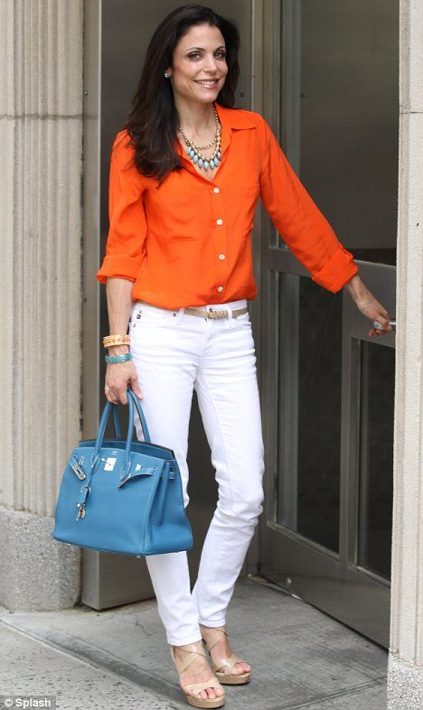 Stylish star: Bethenny accessorised with a teal Hermes Birkin bag and turquoise jewellery  ++Don't know anything about her, but I Love the bracelets!