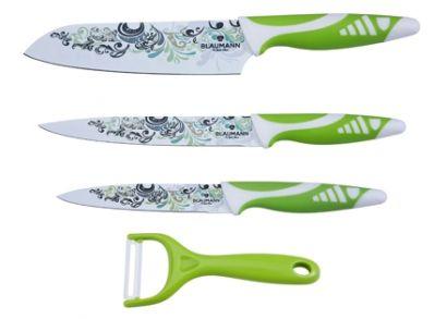 Lila vagy Zöld színű, virágmintás, rozsdamentes acél-kerámia késkészlet