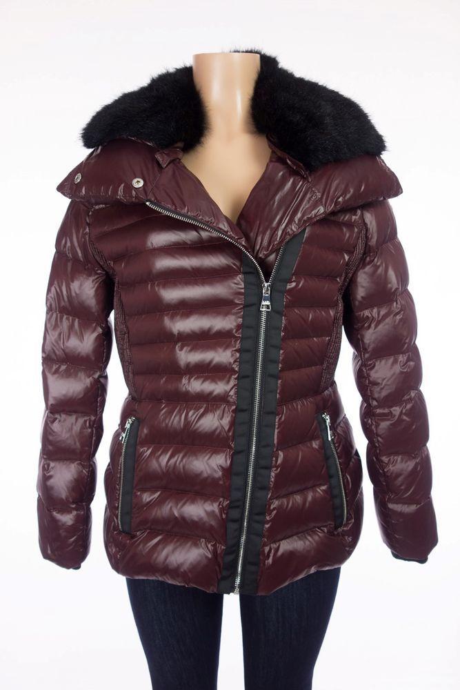 KARL LAGERFELD Asymmetrical Zip Puffer Coat L Wine Faux Fur Trimmed Jacket $350 #KarlLagerfeld #Puffer #Outdoor