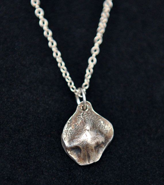 Silver Jewelry actual cat nose print pendant on an ball chain sterling silver necklace. You can add up to 5 pendants in this listing.