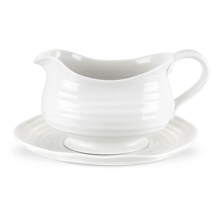 Portmeirion Sophie Conran White Gravy Boat and Stand
