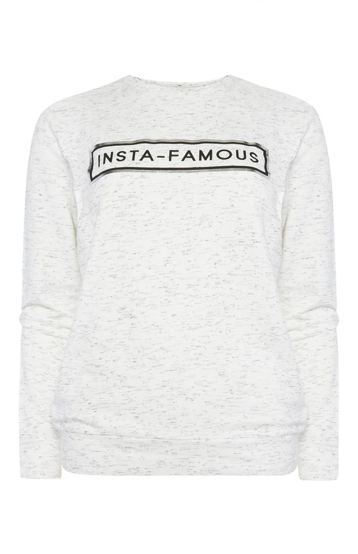 Primark - Grey Insta Famous Slogan Top