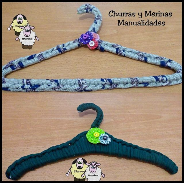 Churras y Merinas Manualidades: Perchas decoradas con Trapillo y Yo-Yo Tutorial.