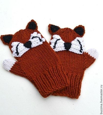 Варежки вязаные для детей Лисички варежки детские, варежки для ребенка -