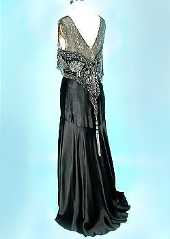 c. 1930s Black Silk Charmeuse Bias-Cut Gown w/ Beaded Net Bodice.