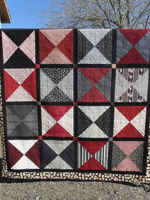 Bedroom #2  Grey, Black and Red Quilt