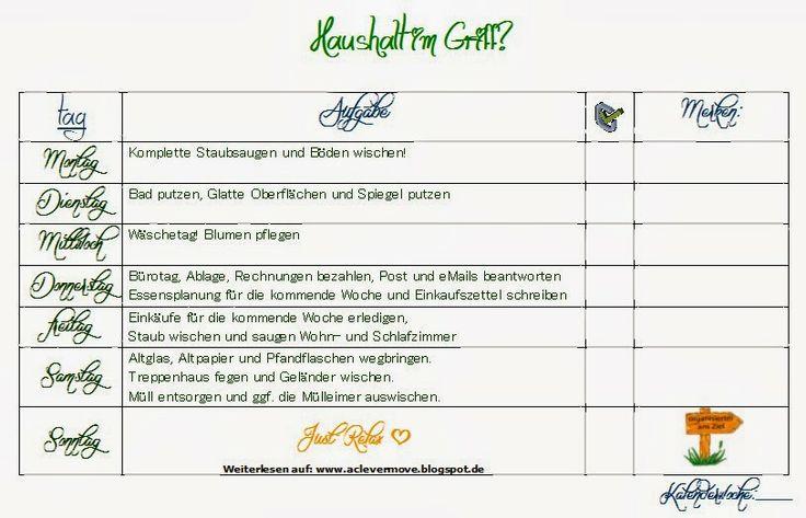 Haushaltsplan Download Free Printable Household planner  deutsch / german