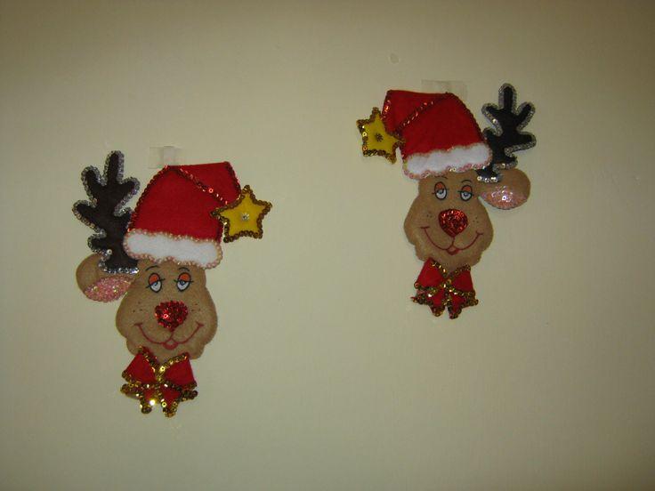 Lindos renos navideños en paño lency y lentejuelas con detalles pintados a mano ...