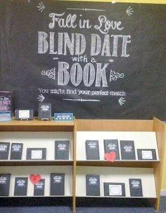 Blind Date with a Book. This isn't a new idea, but I love the blackboard fonts…