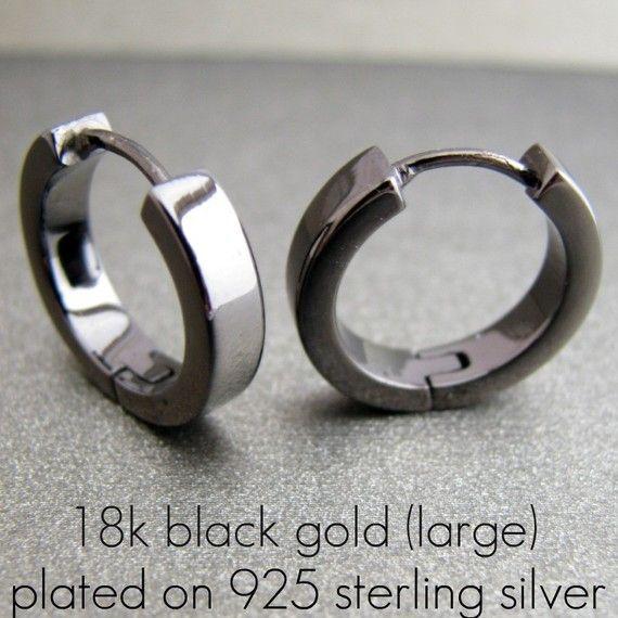 Men S Black Gold Earrings