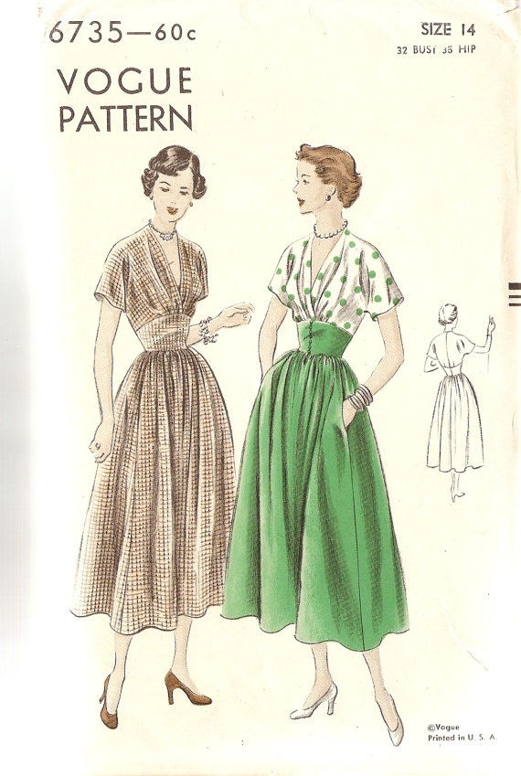 1940s Vintage Sewing Pattern V Neck Dress Vogue by CherryCorners, $50.00