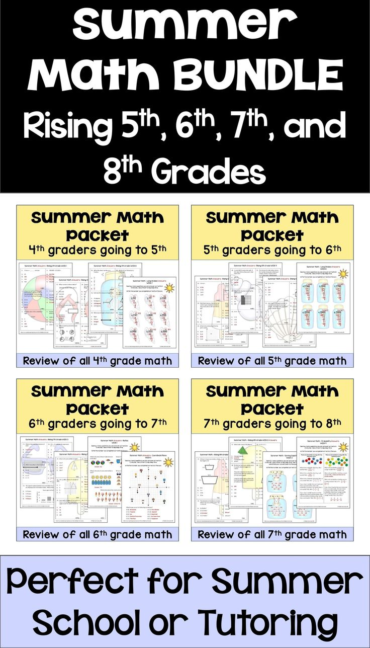This summer math BUNDLE for rising 5th, 6th, 7th and 8th graders has many different worksheets and lots of activities including fun practice with word problems. This summer math product is great for students because it reviews all of the common core math topics for 4th, 5th, 6th, and 7th grade math with a combination of multiple choice worksheets and skills worksheets. Great for teachers, summer school, camp, tutoring, or parents who want to avoid the summer slide.