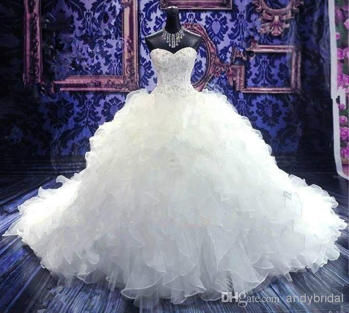 Роскошная Вышивка Бисером Свадебное Платье Принцесса Платья Возлюбленной Корсет Из Органзы Собор/Церковь