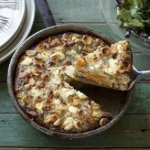 Sweet potato, feta and macadamia frittata