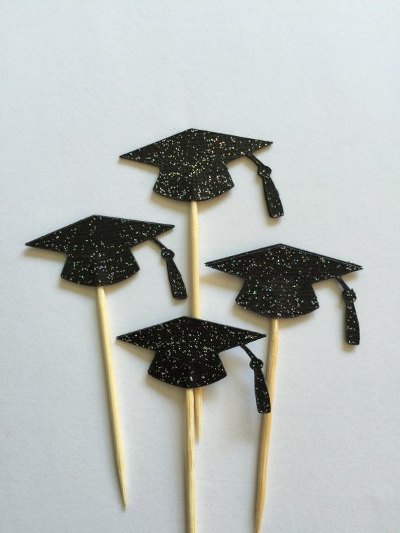 24 Pieces Glitter Black Graduation Cap Cupcake Toppers