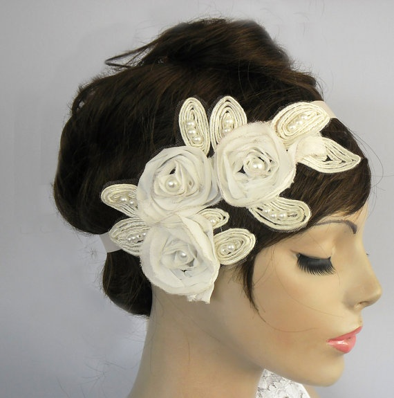 Ivory applique floral headband tiara bridal by MammaMiaBridal, $45.00