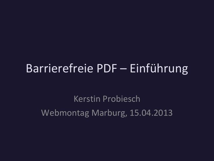 Einführung in Barrierefreie PDF