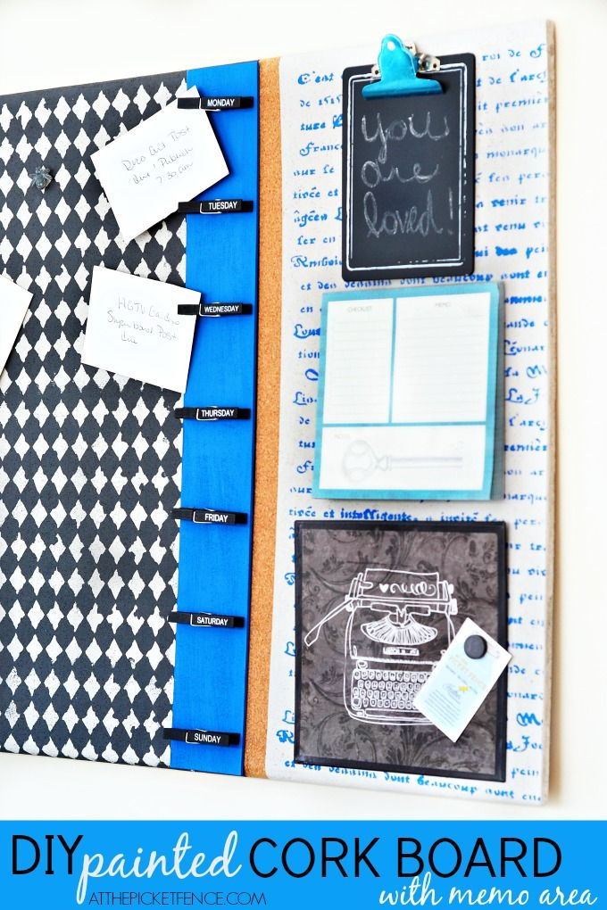 Create this fun DIY Painted Cork Board with memo area.  You could customize in your favorite colors!