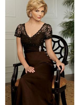 Brown Sheath / Column V-Neck Long / Floor-Length Elastic Silk-like Satin   Style # MD5856  $272.00 at TJ formal.com