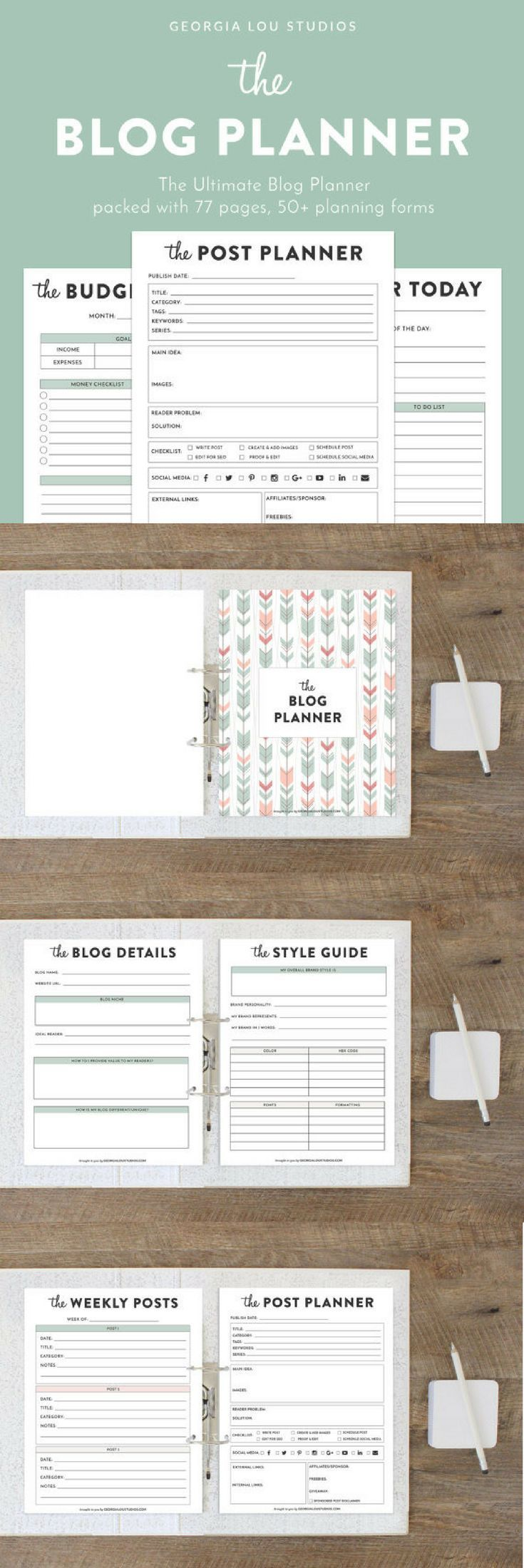 Packed with 77 pages including 50+ forms, this planner has every worksheet you could ever need to get your blog organized and under control. From calendars to finance trackers to post planners and SEO checklists, this planner has all your organizing needs covered. #blog #printable #organize #ad
