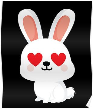 Bunny Rabbit Emoji Heart and Love Eye