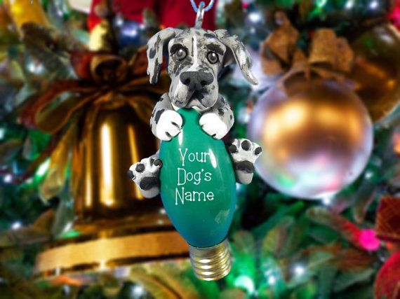 Design 1 Blue Merle Great Dane Natural ears Christmas Light Bulb Ornament Sallys Bits of Clay PERSONALIZED FREE on Etsy, $20.00