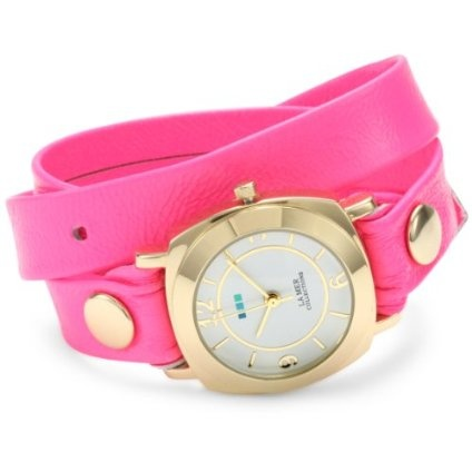 La Mer Collections Women's LMODYREFINERY001 Neon Pink/Gold Odyssey Watch - designer shoes, handbags, jewelry, watches, and fashion accessories | endless.com