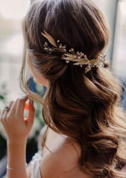 Super Hochzeit Frisuren halb hoch halb runter gerade einfach 22+ Ideen