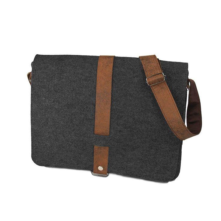 Dark grey felt bag with the brown belt. Very useful at work!