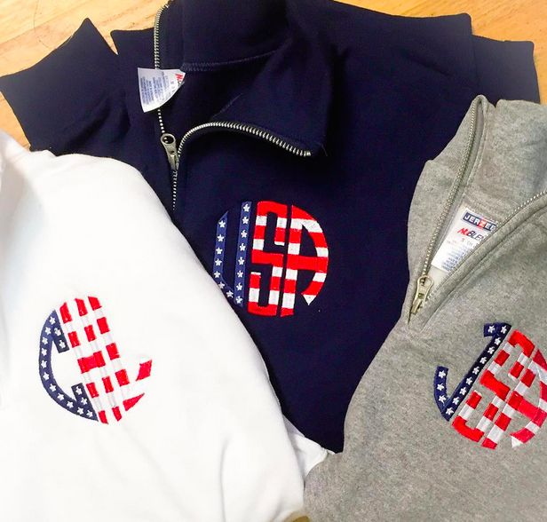 Get our Monogrammed Quarter Zip Sweatshirt with this Stars & Stripes Monogram Style! Grab your Patriotic Monogrammed Sweatshirt while its still available! Live the American Dream.