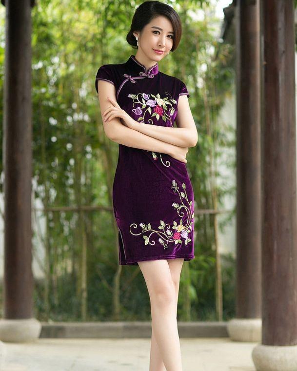 Janelle Qipao - Embroidered Flower Short Cheongsam