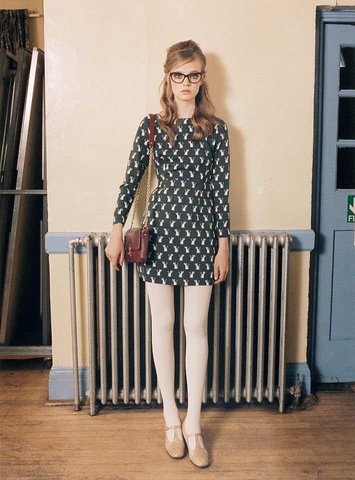 AW12 'Cute As A Fox' fitted dress with white tights and T Bar pumps. Why not have some fun with some geek chic glasses too!, via Orla Kiely