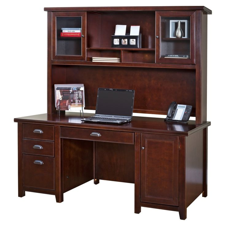 kathy ireland Home by Martin Tribeca Loft Double Pedestal Desk with Optional Hutch - Cherry - MAI764