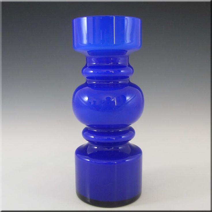 Lindshammar 1970's Swedish Blue Hooped Glass Vase #2 - £70.00