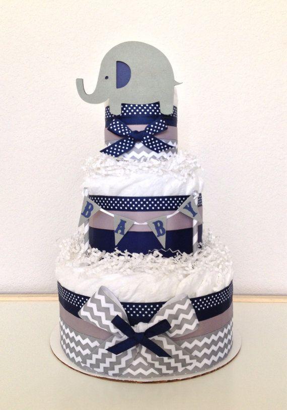 Lil Peanut Elephant Diaper Cake  Colors: Chevron Gray, Navy and White