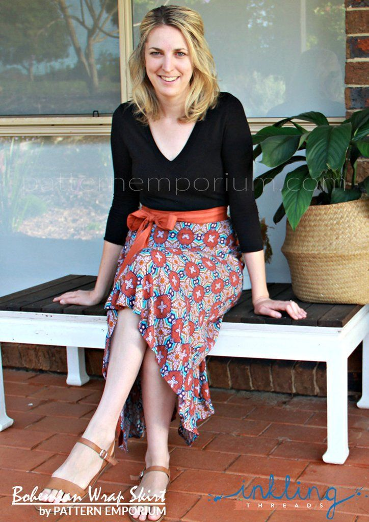 Wrap Skirt sewing pattern by Pattern Emporium - plain, ruffle or flounce. Optional pockets. Instant download.